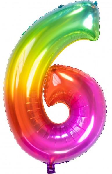Zahl 6 Super Rainbow Folienballon 86cm