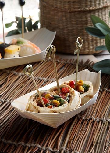 Barco 50 cuencos de madera para comer con los dedos 16,5 x 8,5cm