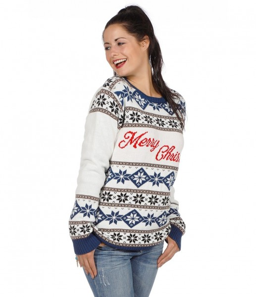 Weihnachtspullover Schneemuster Merry Christmas