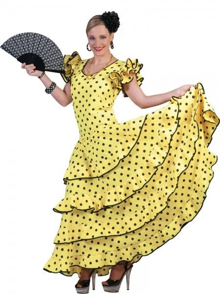 Sundown Tänzerin Gepunktetes Damenkleid Gelb