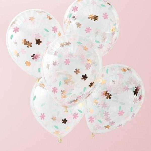 5 ballons de confettis de fleurs de licorne brillantes 30cm