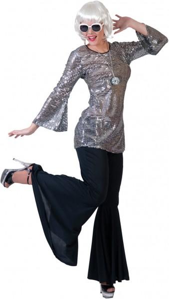 Hillary Disco Fever Paillettenkleid Silber