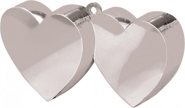 Peso de globo de doble corazón en plata