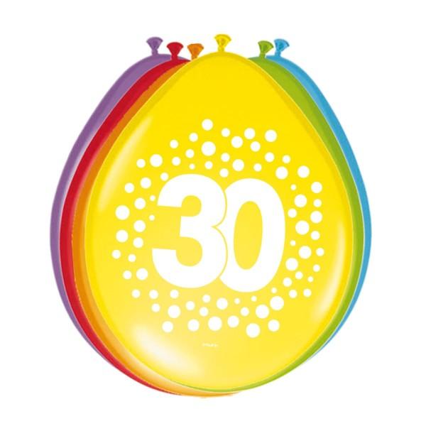 8 Ballons Happy 30 Dots 30cm
