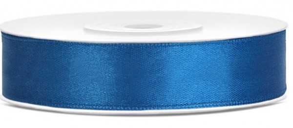 25m satin gift ribbon blue 12mm wide