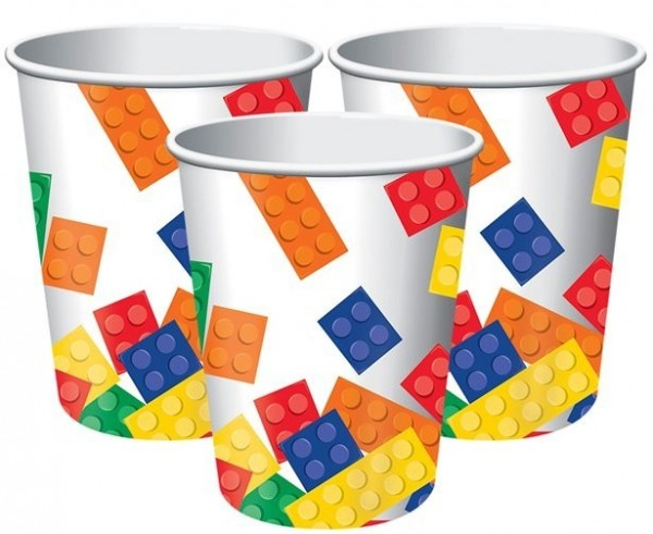 8 colorful building block paper cups 255ml