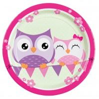 8 Owls Family Runder Pappteller 23cm