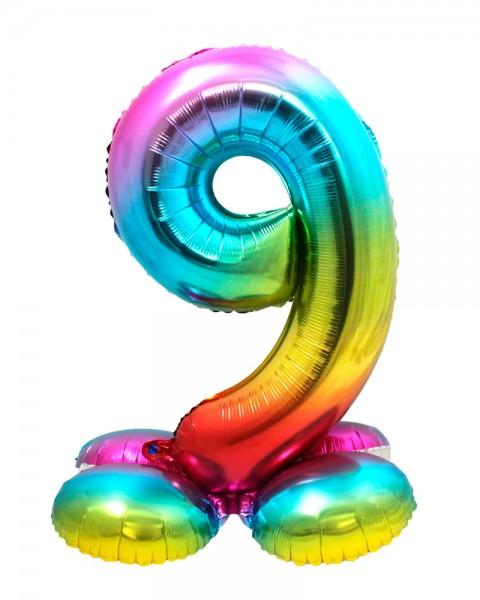 AirLoonz Regenbogen Zahl 9 Ballon 81cm