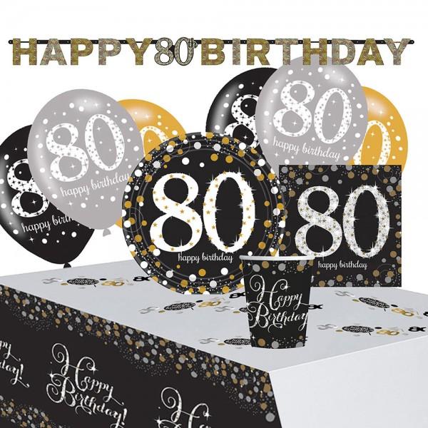 Golden 80th Birthday Deko Set 41-teilig