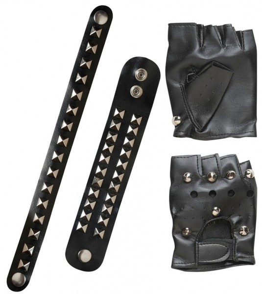 Studded leather punk set