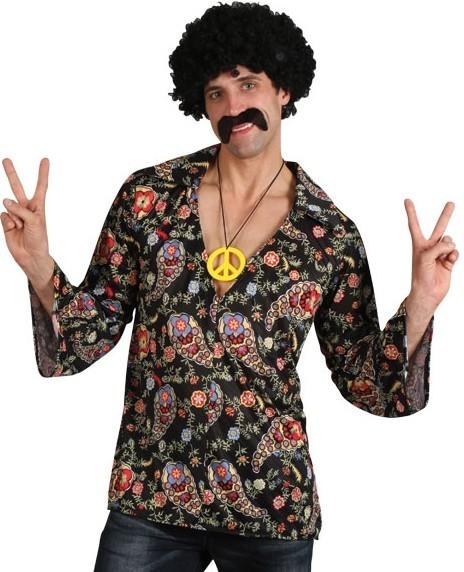 Disco Hippie Hemd Mit Peace Kette
