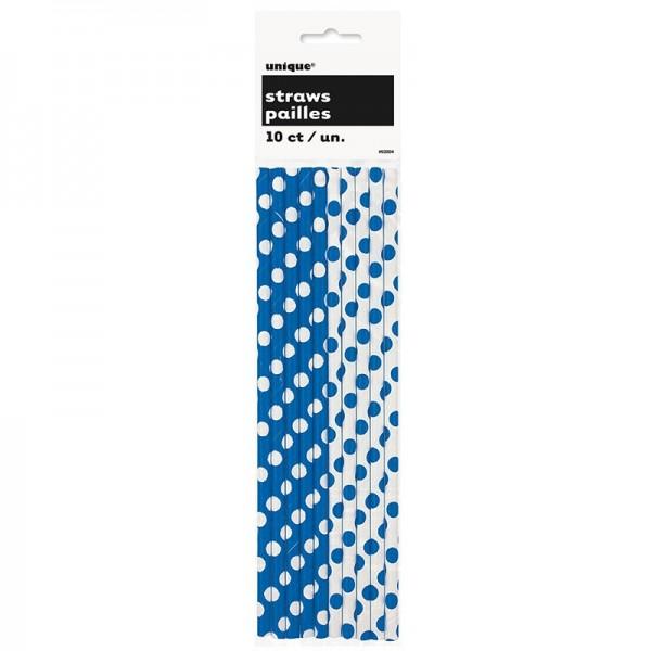 10 gepunktete Papier Strohhalme blau weiß
