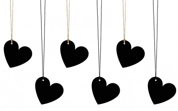6 heart gift tags black
