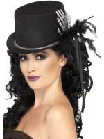 Damen Hut Schwarz Mit Skeletthand