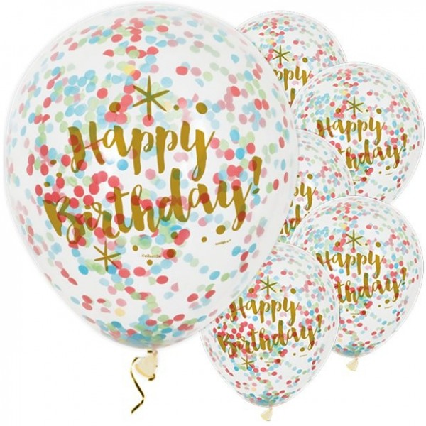 6 Happy Birthday konfetti balloner 30cm
