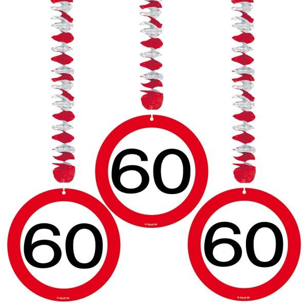 3 Verkehrsschild 60 Spiralhänger 75cm