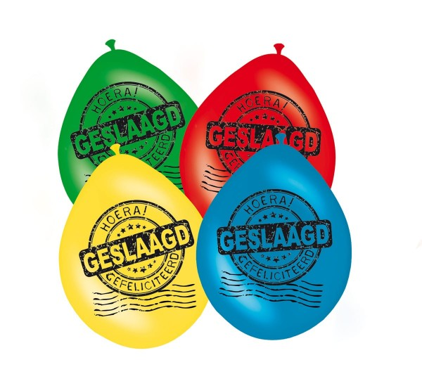 8 Bunte Geslaagd Luftballons 30cm