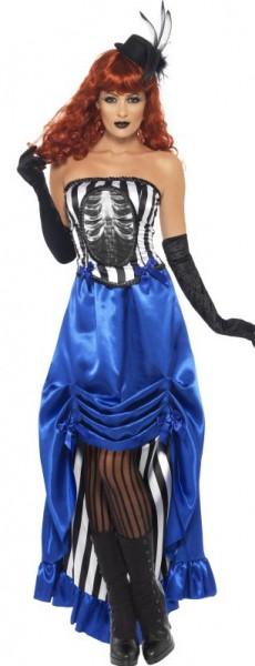 Blau Schwarz-Weiß Gestreiftes Halloweenkleid