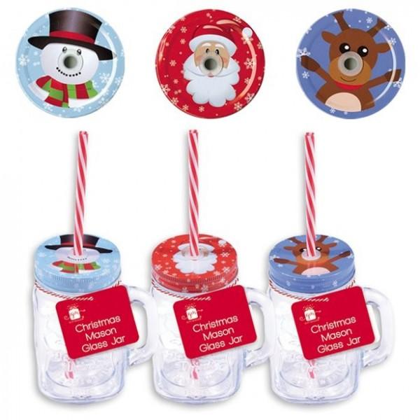1 Weihnachtsglas mit Deckel und Trinkhalm