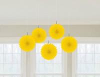 5 Gelbe Papierrosetten Juliane 15cm