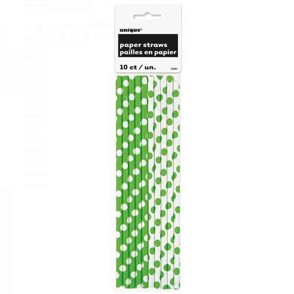 10 dotted paper straws green white