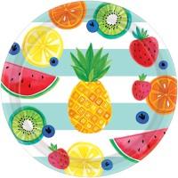 8 Tutti frutti Pappteller 26cm
