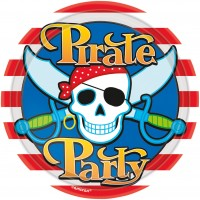 8 Runde Pappteller Partytime Pirate 23cm