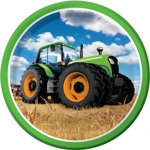 8 Traktor Party Pappteller 23cm
