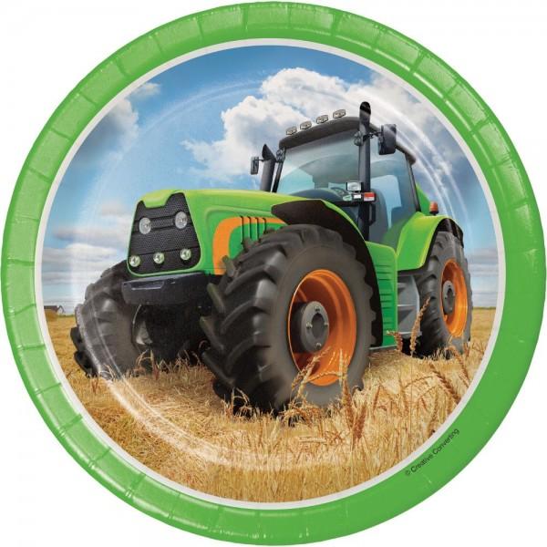 8 Traktor Party Pappteller 18cm
