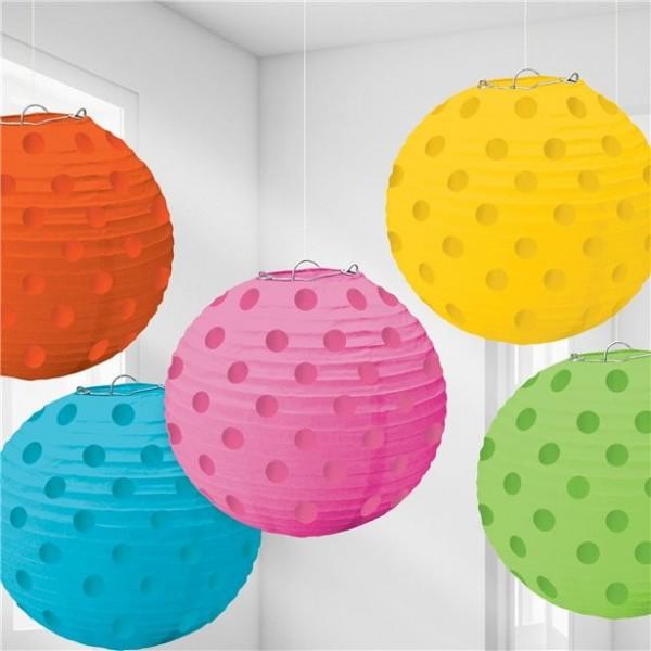 5 linternas chinas de lunares de colores 12cm