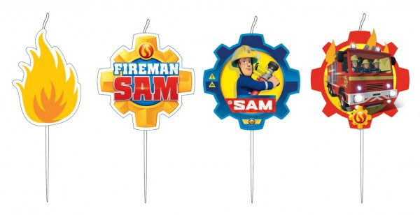 4 Fireman Sam SOS cake candles 7.5cm