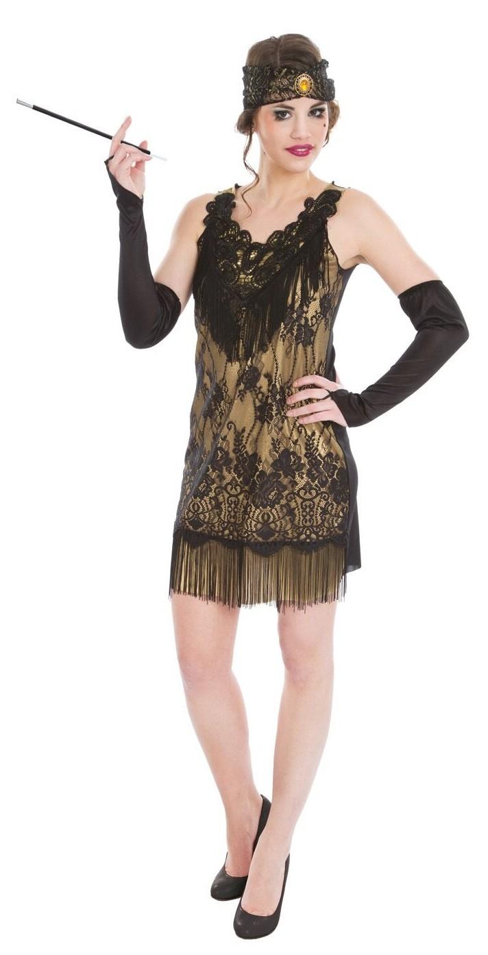 18er Jahre Charleston Kleid in Schwarz-Gold