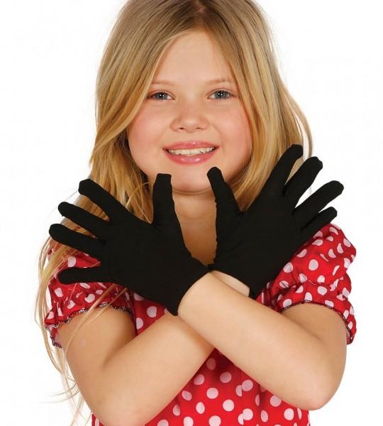 Schwarze Handschuhe für Kinder 17cm