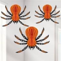 3 Spinnen Wabenball Deko 16cm