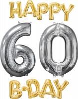 Folienballons Happy 60 Birthday 4-teilig