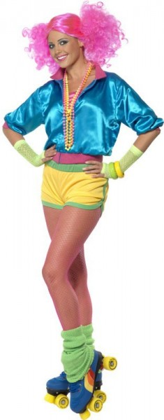 Neon colorful roller girl costume