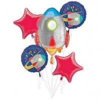 Weltraumparty Folienballon Bouquet 5-tlg.
