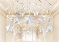 30 Silberne Sternen Spiralhänger 60cm