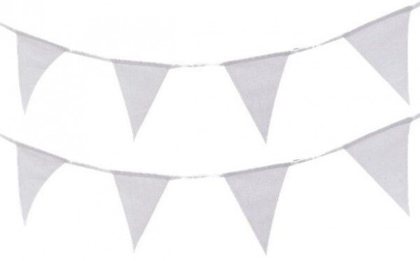 White fabric flag garland 5m