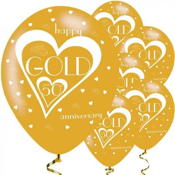 6 ballons en latex doré joyeux 50e anniversaire de mariage 28cm