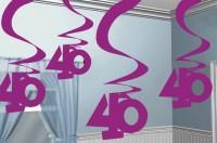 40th Celebration Wirbel Hängedekoration Pink 5x61cm