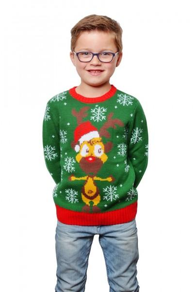 Grüner Kinder Christmas Pullover