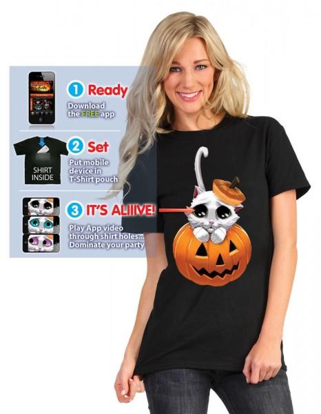Halloween Katzen Shirt Mit App Funktion