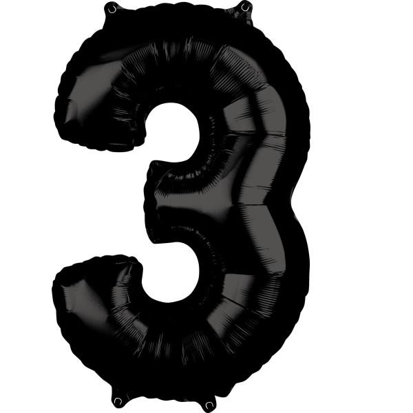 Schwarze Zahl 3 Ballon 66cm