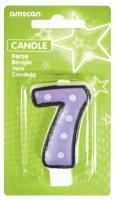 Crazy Birthday Party Zahlenkerze 7 Lavendel Gepunktet