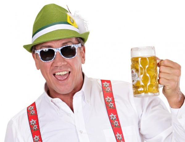 Oktoberfest Partybrille in Blau-Weiß
