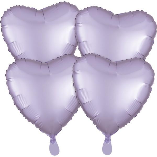 4 Satin Herzballons lavendel 43cm