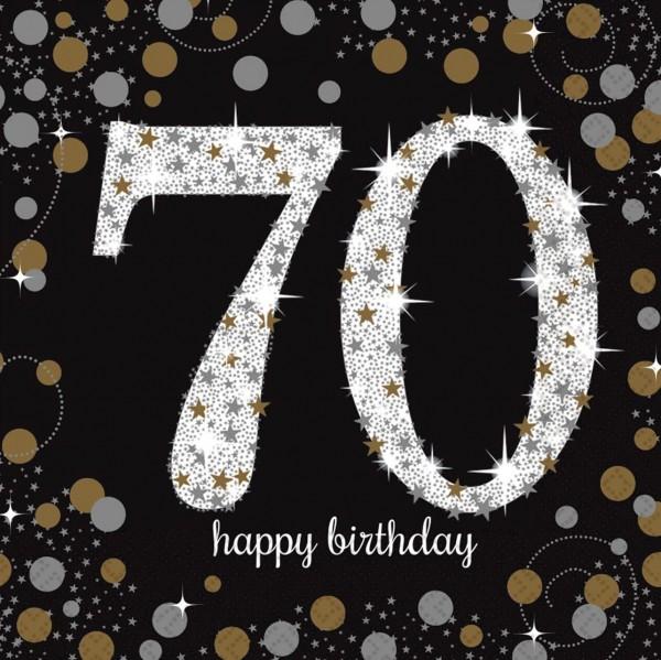 16 Golden 70th Birthday Servietten 33cm