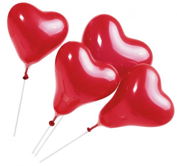 5 Herzstabballons Sissi 20cm