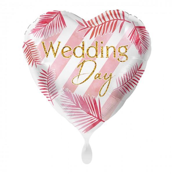 Wedding Day Herz Folienballon modern 43cm